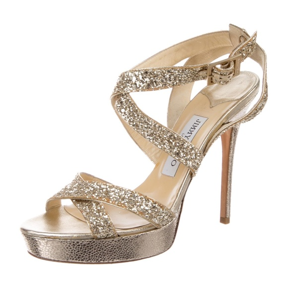 b87658e4ab5 Jimmy Choo Shoes - Gold Glitter Vamp Multistrap Platform Heels Sandal
